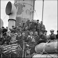 (Survivors of a torpedoed merchant ship dock in St. John's, NFLD, September 1942)