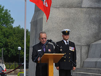 Military Chaplain Padré Monpas and a Royal Canadian Navy Officer